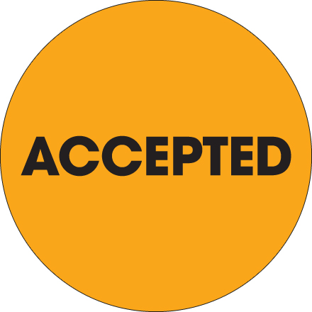"2"" Circle - ""Accepted"" Fluorescent Orange Labels"