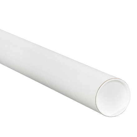 "2 <span class='fraction'>1/2</span> x 48"" White Tubes with Caps"